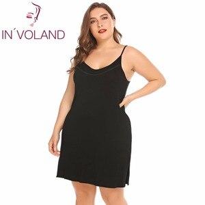 Image 2 - INVOLAND femmes Slip robe de nuit grande taille XL 5XL été salon Chemise à bretelles grande Chemise de nuit robes robes oversize