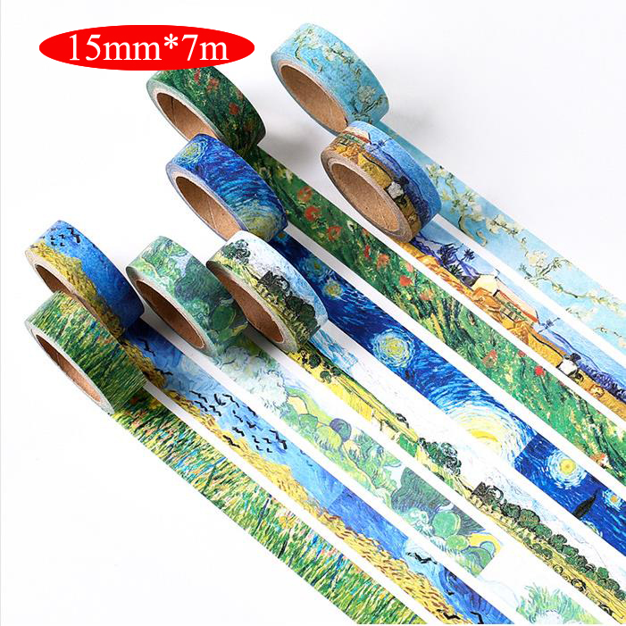 1PCS/PACK 15mm*7m starry night Van Gogh DIY paper washi tape masking tape color decorative adhesive tapes School Supplies 02466