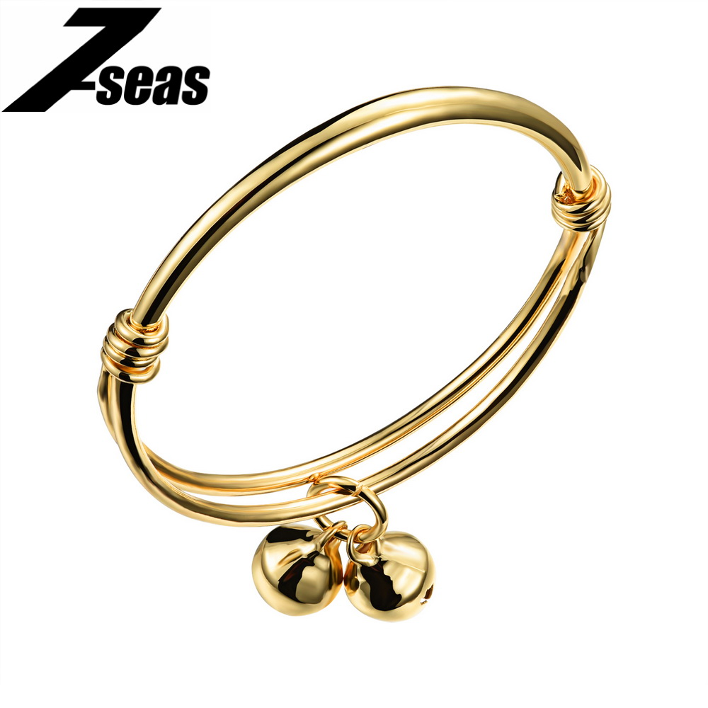 7SEAS Fashion Lovely Baby Kids Childrens Yellow Gold Color Bangle Charm Boys and Girls Bell Lucky Jewelry Christmas Gifts,JM487