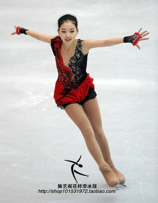 Red figure skating dresses