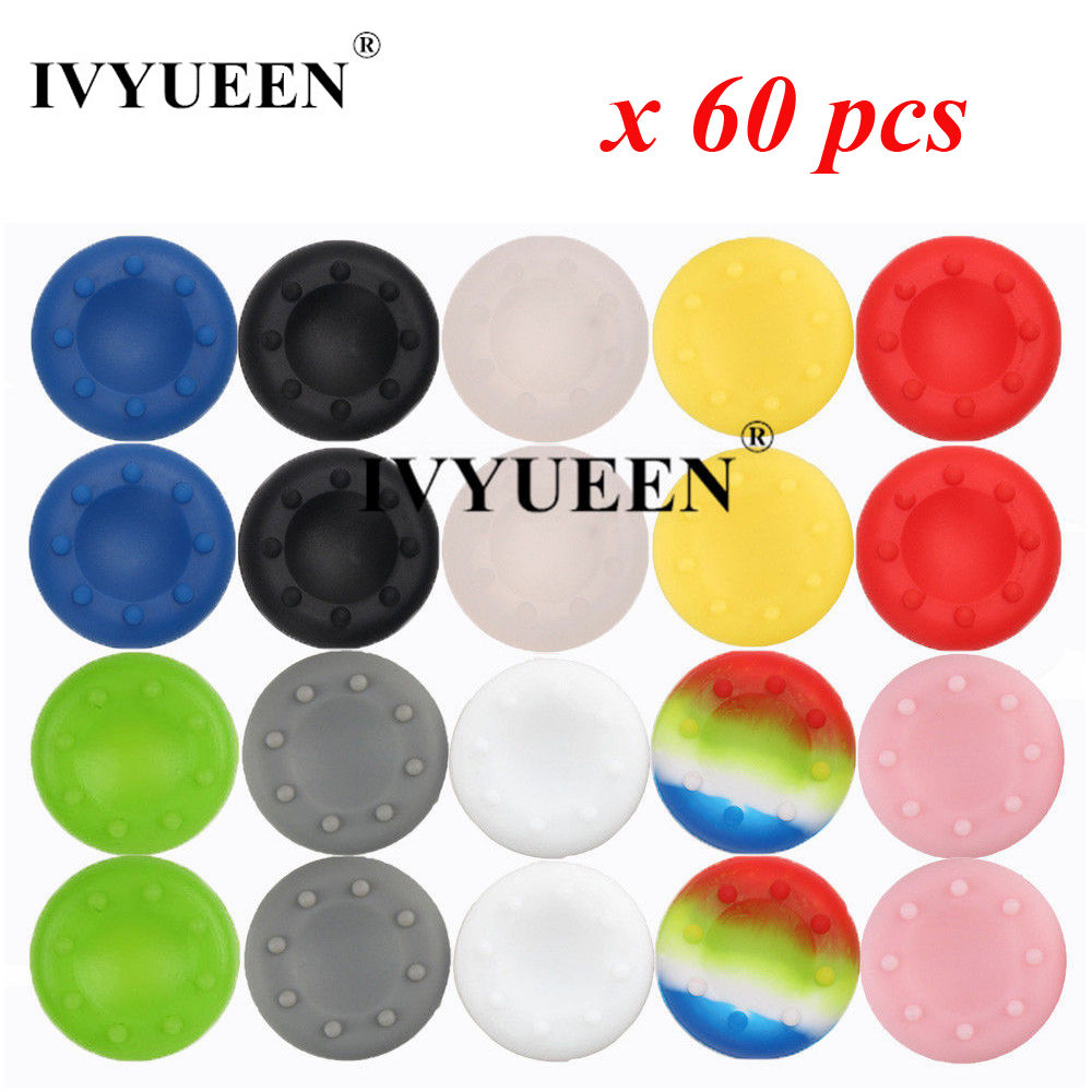 IVYUEEN 60 Pcs Silicone Analog Thumb Stick Grips For Playstation 4 PS4 Pro Slim For PS3 Controller For Xbox 360 Thumbsticks Caps