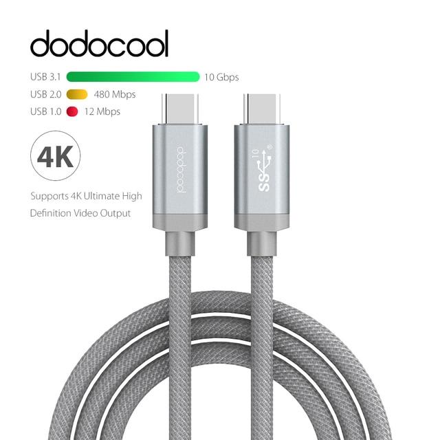 Dodocool USB-IF USB-C à USB-C 3.1 Type-C Mâle à Mâle Data Sync et de charge Câble USB 3.1 Type C Câble Soutien 4 K Vidéo Sortie