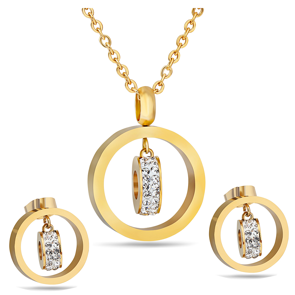 Hot Sale Gold Color Jewelry Set 316L Stainless Steel CZ Crystal Earring Necklace Women Set 316l stainless steel rose gold gold silver color frosted butterfly charms jewelry set necklace ring