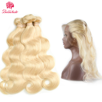 Beau Hair Non Remy Hair 613 Blonde Color Malaysian Body Wave Hair Wefts Bundle with 360 Lace Frontal Closure With Baby Hair