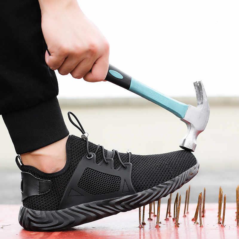 Stalen Neus Veiligheid Werk Schoenen Mannen 2019 Mode Zomer Ademend Slip Op Casual Laarzen Heren Labor Punctie Proof Schoen