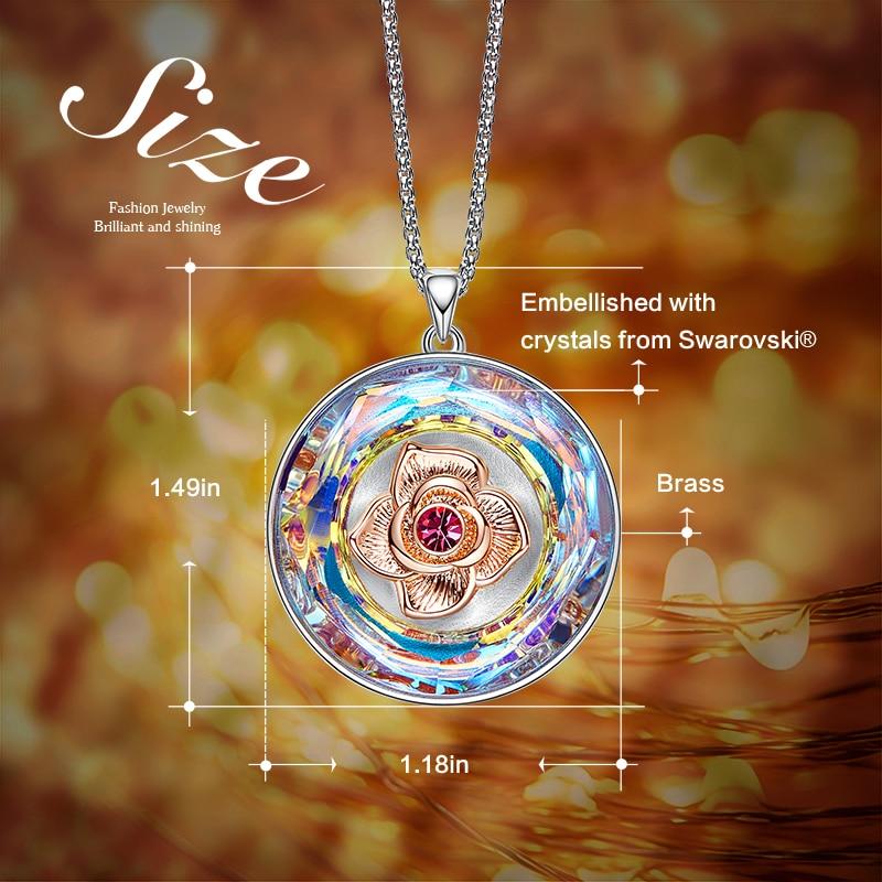 Image 4 - CDE Women Gold Necklace Embellished with crystals 18K Rose Gold  Dancing Rose Flower Pendant Mothers Day GiftNecklaces