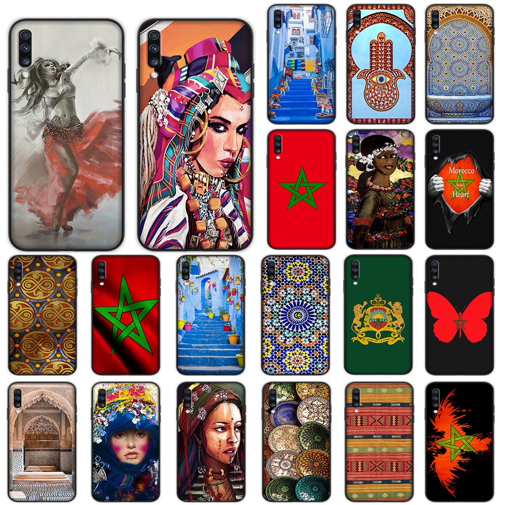 Morocco Flag Artistic Pattern Travel Girl Soft Case for Samsung Galaxy A5 A6 A7 A8 A9 Plus A10 A20 A30 A40 A50 A60 A70 M40 Cover image