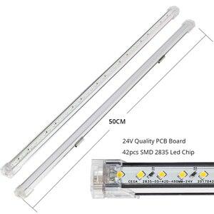 Image 2 - 24V 2PCS 4PCS 50CM Led Bar Light Aluminium Profile Kitchen Lighting iTouch Sensor Ultra Thin Under Cabinet Light LED strip mount
