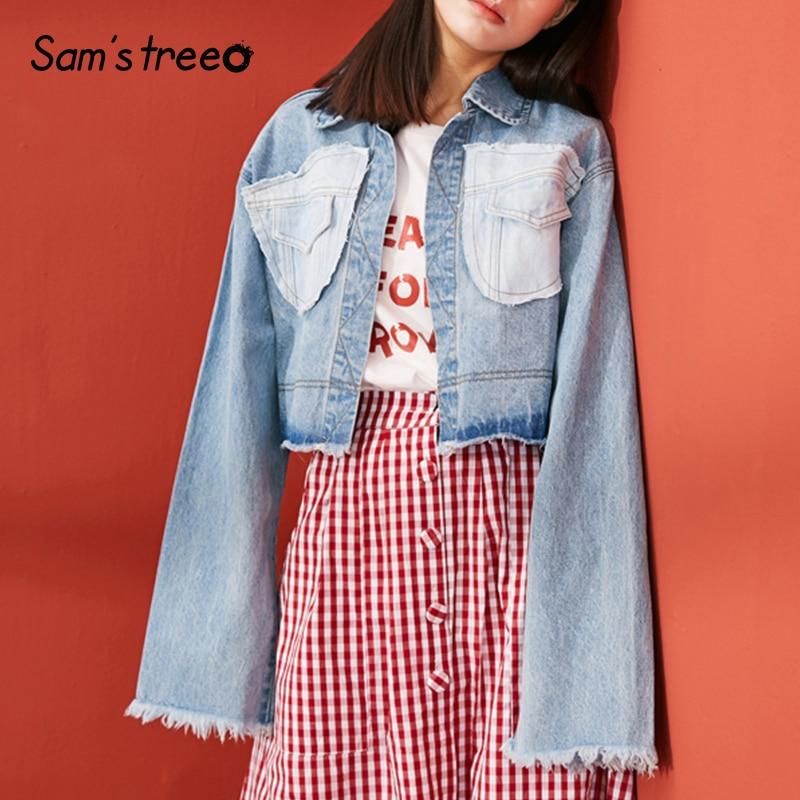 Samstree Vintage Spring Summer Women Short Thin Coat Bleached Female Denim Jacket Outwear Ladies Fringed Edge
