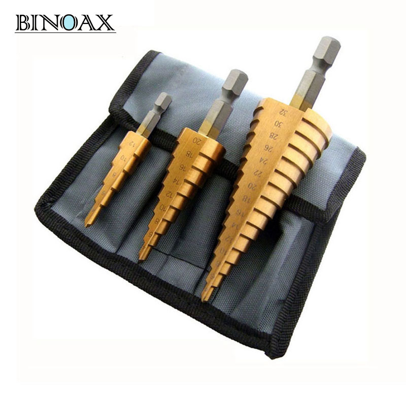 Binoax 3 stücke Metric Spirale Flöte Schritt HSS Stahl 4241 Kegel Titan Beschichtete Bohrer Bits Werkzeug Set Loch Cutter 4 -12/20/32mm + Beutel