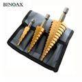 Binoax 3 piezas métrica flauta espiral paso HSS acero 4241 cono recubierto de titanio brocas conjunto de herramientas agujero cortador de 4 -12/20/32mm + bolsa