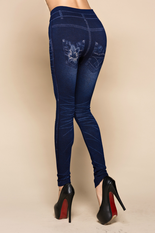 Fashion Slim Women Leggings Faux Denim Jeans Leggings Sexy Hole Heart Printing Casual Women Clothing Pencil Pants Plus Size #4