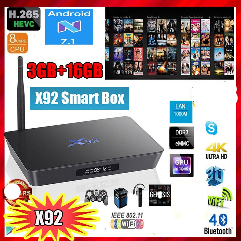 Boîte X92 android 7.1 TV Box 3 gb 32 gb Amlogic S912 Octa-core 2.4 ghz/5.8 ghz wiFi Bluetooth USB 2.0 PK t95z plus