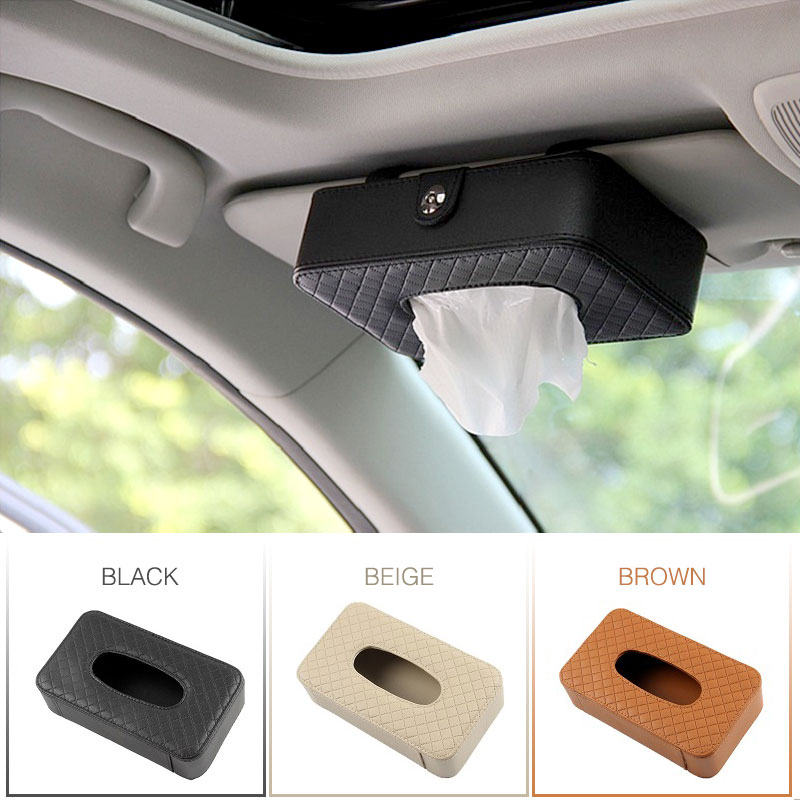 PU Leather Tissue Box Car Tissue Holder Sun Visor Hanging Napkin Storage Box For Auto Organizer Accessories