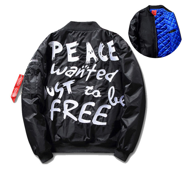 Men's Hip Hop Peace Ma-1 Bomber Jacket Us Size