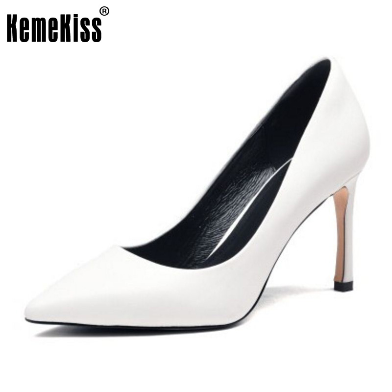 KemeKiss Women Genuine Leather High Heel Shoes Women Pointed Toe Thin Heel Pumps Party Simple Shoes Women Footwears Size 34-39 ladies real leather high heels pumps pointed toe sexy thin high heeled shoes women shine wedding party footwears size 34 39