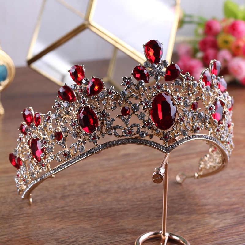 ... Baroque Vintage Gold Red Green Crystal Crown Wedding Tiara Rhinestone  Pageant Prom Crowns Bride Headbands Women d3464001f140