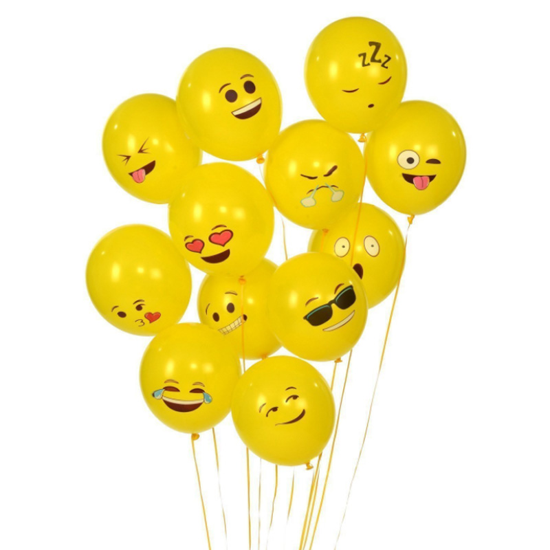 Yellow Latex Balloons Smiley Face Expression Cartoon Inflatable Balls Party Wedding Emoji Cute Emoticons 12 Inch