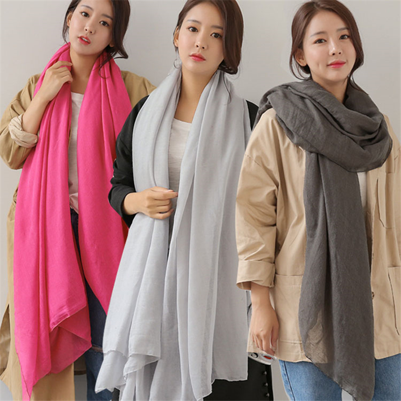100*180cm Oversized Muslim Hijab Scarf Shawls And Wraps Islamic Headscarf Soft Solid Cotton Women Scarves Female Stole Foulard