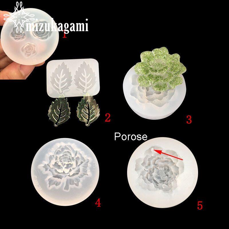 1pcs UV Resin Jewelry Liquid Silicone Mold Flowers & Leaf Shape Resin Charms Pendant Molds For DIY Intersperse Decorate Making