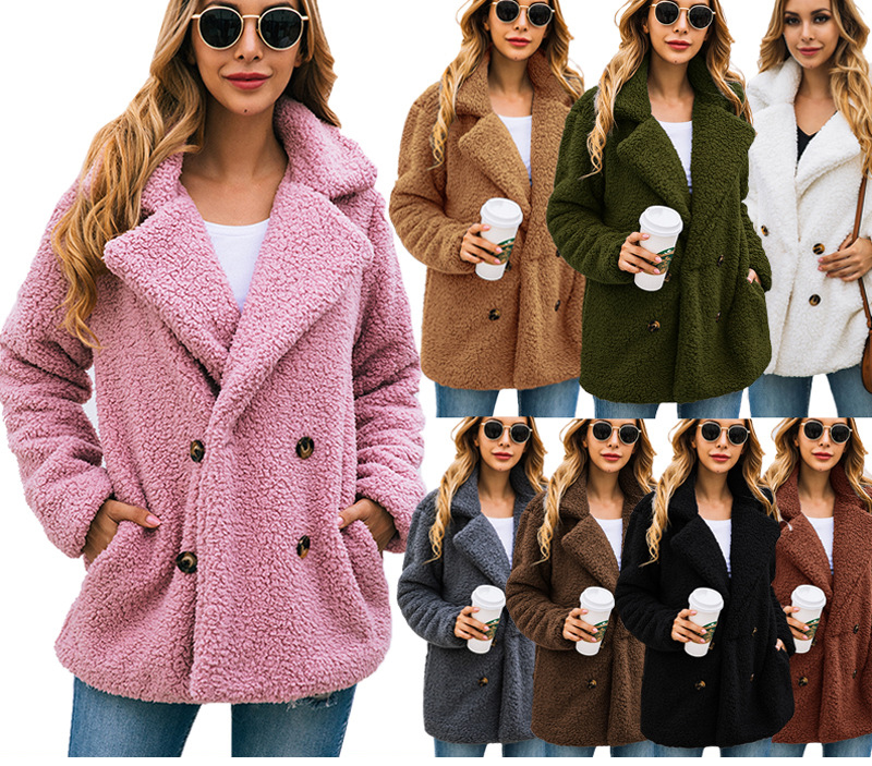HTB132yCboT1gK0jSZFhq6yAtVXab Lossky Women Long Sleeve Autumn Winter Thick Warm Jacket Coats Plus Size Loose Button Pocket Pink Lady Plush Flannel Overcoat