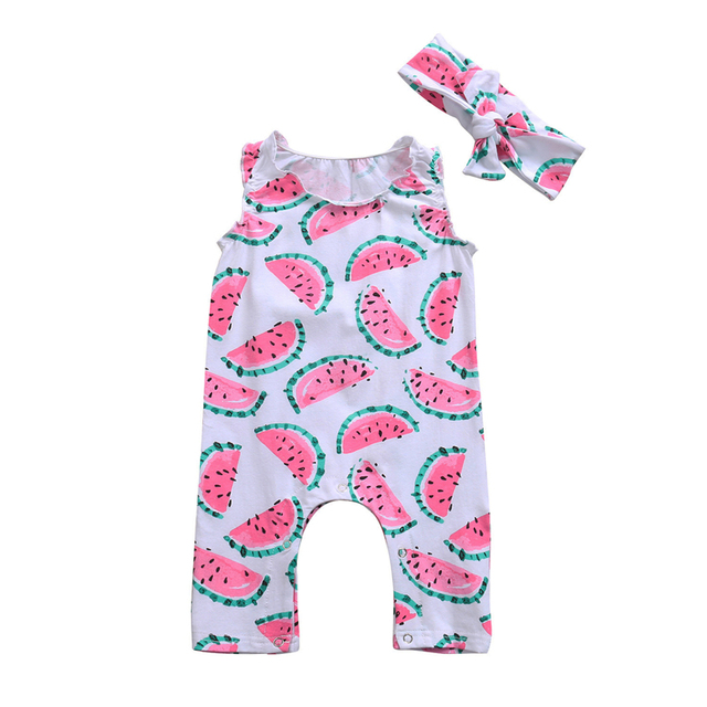 5d0488b80aa7 Summer 2017 New Infant Baby Girl Boy Cactus Printed Romper With Headband  Sleeveless Jumpsuit Playsuit Outfit