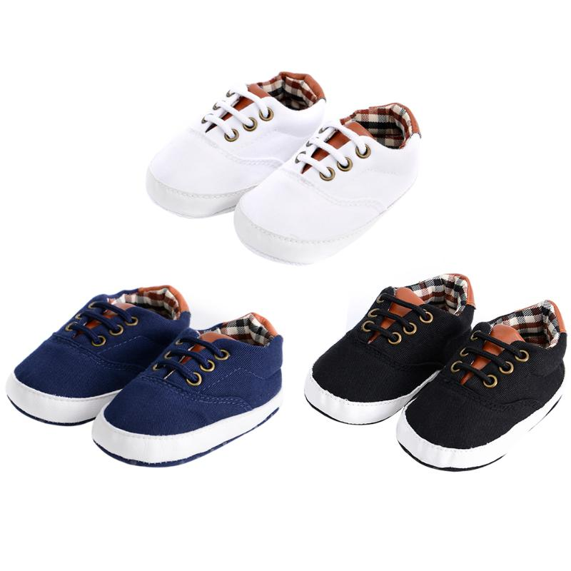 Casual Baby Canvas Shoes Prewalkers Fashion Solid Lace-Up Soft Sole Shoes Baby Boys Girls Spring Autumn First Walkers