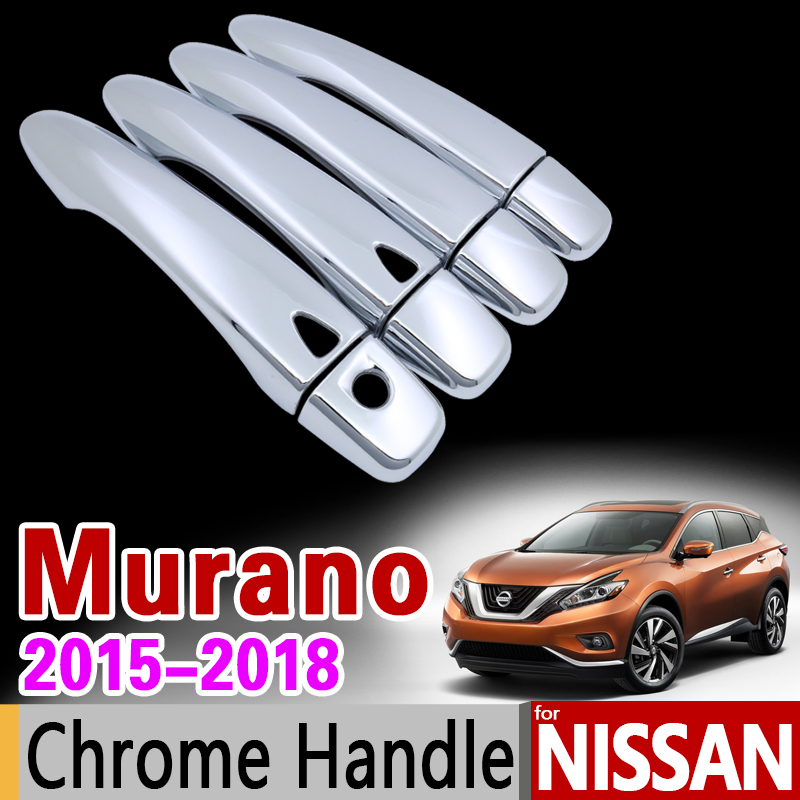 for Nissan Murano Z52 2015 2016 2017 2018 Chrome Door Handle Cover Trim Set Never Rust Car Accessories Stickers Car Styling