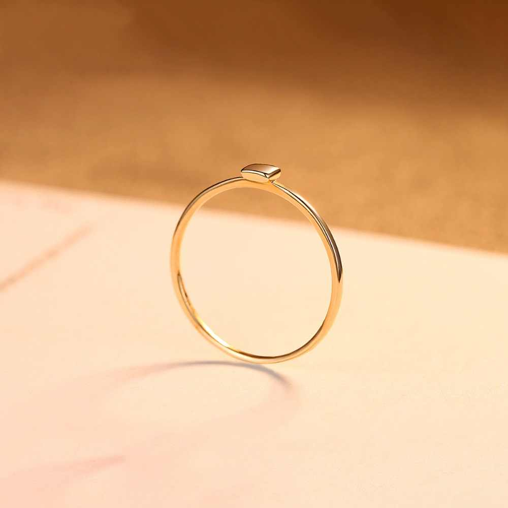 9fa9fbee1 ... PAG&MAG New Luxury Real 14K Yellow Gold Rings for Women Minimalist  Au585 Square Design Anniversary Finger