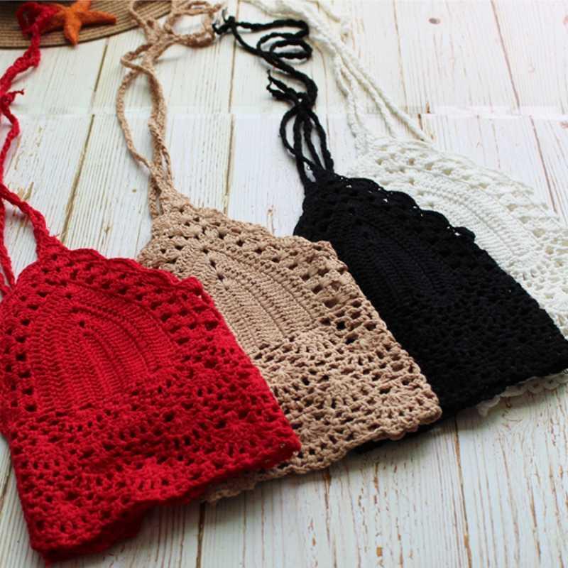 d32065dbae8 ... Women Sexy Handmade Bikini Cotton Camis Tops Boho Style Crochet Knitted  Bralette Camisole Beach Halter Tops ...