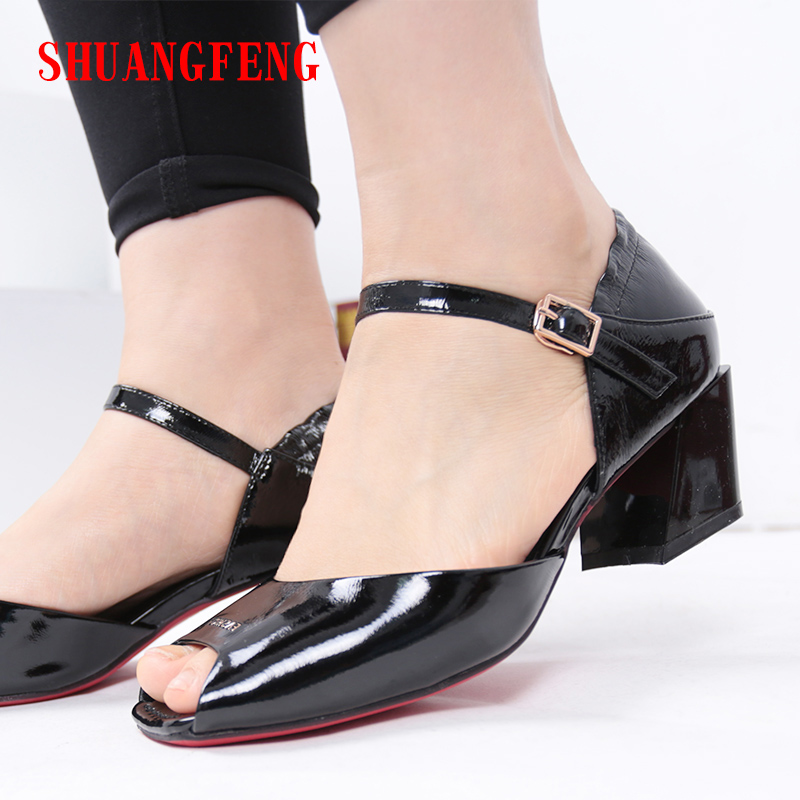 SHUANGFENG Red Bottom Shoes Women Sandals 2018 Open toe High Heels Real Leather Sandals Classic Black Office Ladies Shoes Woman classic leather sandals classic leather sandals women sandals summer sandals