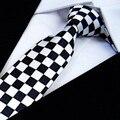 Delgado Skinny Ties Lazo de Los Hombres corbata de Poliéster corbatas de moda a cuadros blanco y negro comprueban pajaritas mariposa