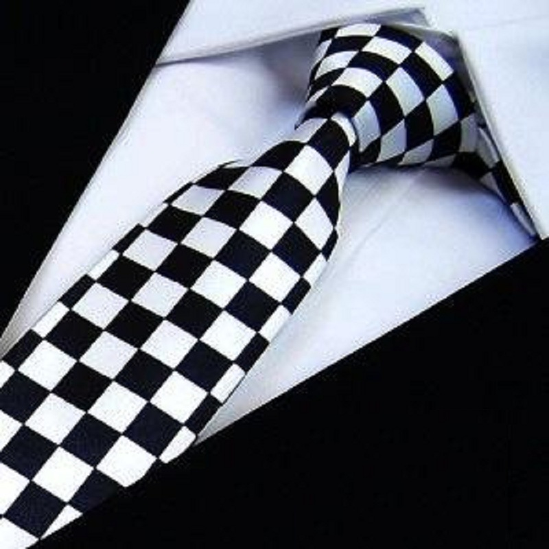 HOOYI 2019 Slim Ties Skinny Tie Men's Necktie Polyester Plaid Fashion Neckties Black White Check Bowties Butterfly