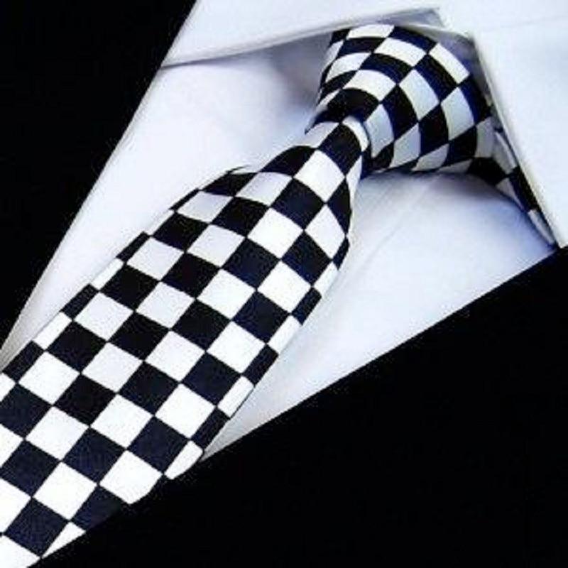 HOOYI 2019 Slim Ties Skinny Tie Men's Necktie Polyester Plaid Fashion Neckties Black White Check Bowties Butterfly
