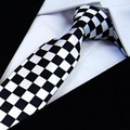 HOOYI 2019 тонкие узкие галстуки, мужские галстуки, полиэфирные клетчатые модные галстуки, черные, белые клетчатые Галстуки-бабочка - фото