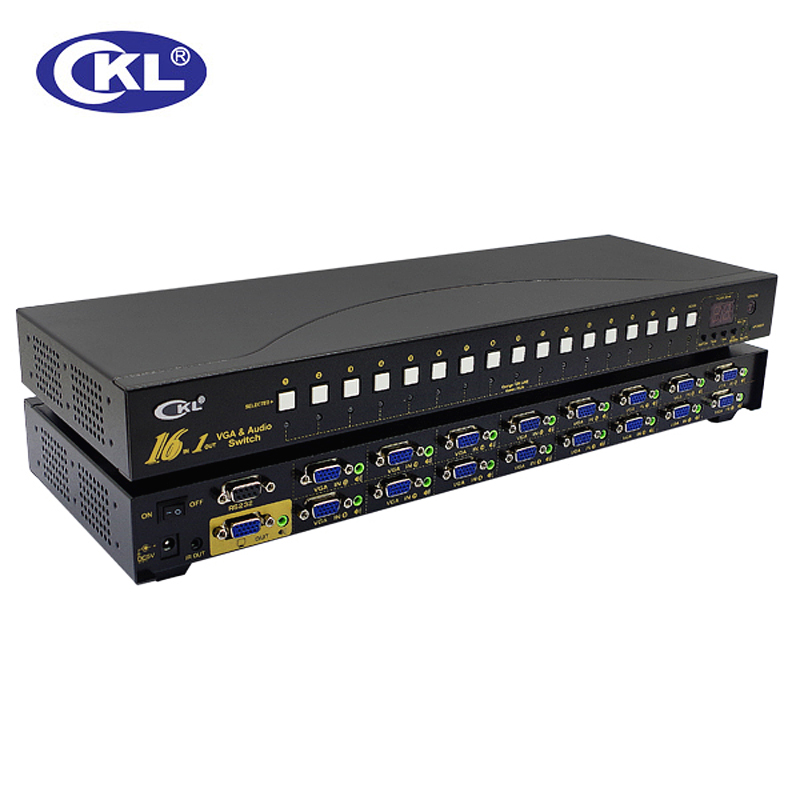CKL-161S 16 Port Auto VGA Audio Switch 16 In 1 Out PC Monitor Switcher Rack With IR Remote RS232 Control 2048*1536@450MHzMetal