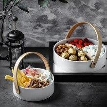 Простой керамический лоток для хранения с четырьмя решетками и съемным держателем в Скандинавии, тарелка для хранения пищевых конфет, украшений, домашний декоративный Органайзер
