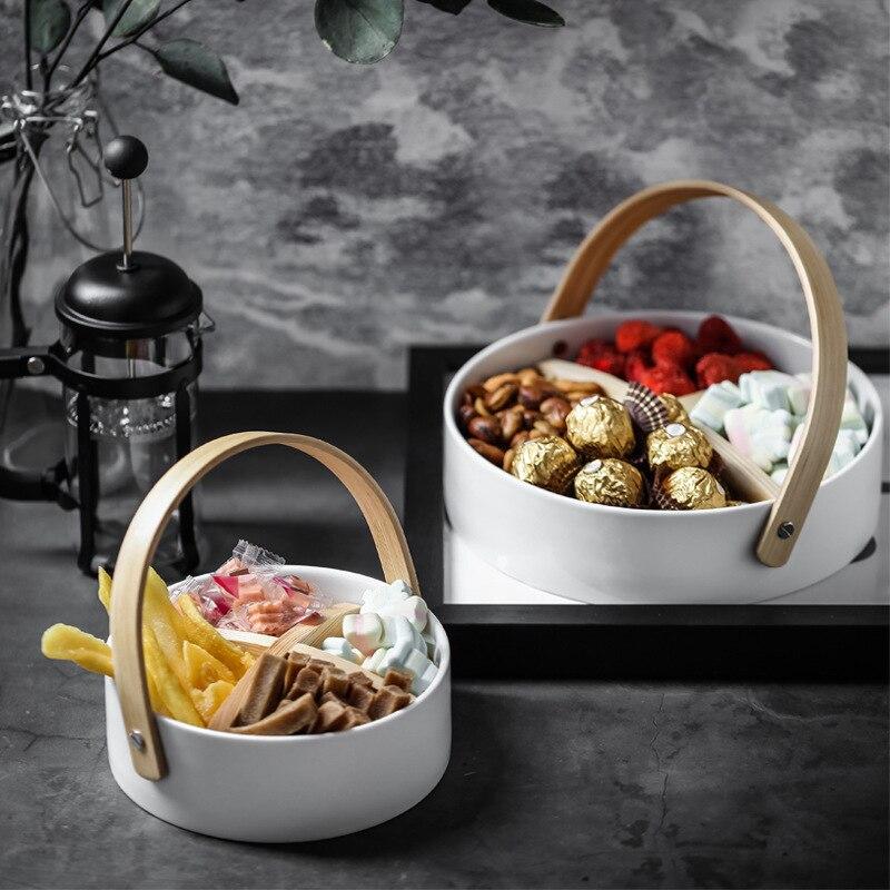 Plateau de rangement en céramique à quatre grilles | Simple avec support, assiette de rangement détachable Scandinavia de nourriture, bonbons bijoux, organisateur de décoration intérieure