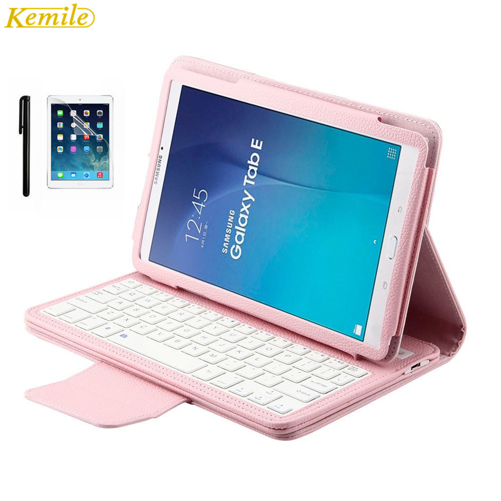 Kemile Removable Wireless Bluetooth Keyboard Portfolio Leather Stand Case Cover for Samsung Galaxy Tab E 9.6 T560 T561 T565 removable wireless bluetooth russian hebrew spanish keyboard stand pu leather case for samsung galaxy tab a 9 7 t555 t551 t550