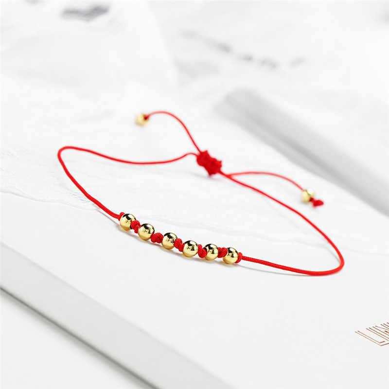 NEWBUY Handmade Lucky Red String Bracelet For Women Girl Children Gold Color 4mm Copper Beads Charm Bracelet Party Jewelry Gift