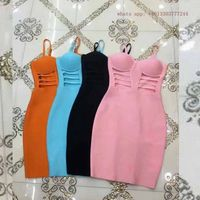 brief sexy orange sky blue pink black spaghettis trap bandage dress women summer vetsidos waist hollow out short formal gowns