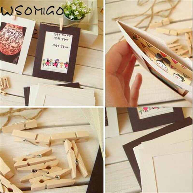 10pc/set Retro 7inch Photo Frame +Wooden Clip Wedding Decoration Birthday DIY Party Paper Picture Holder for Kids Room Decor-B