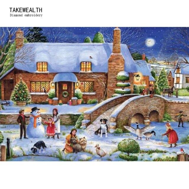 5D Полный Круглый бриллиант вышивка Пейзаж Зима снег дом поделки алмазов картина Детский рай мозаичный Декор для дома b517