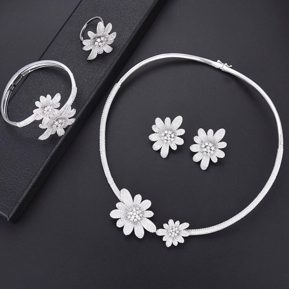 Ensembles de bijoux de mariage pour femmes   Chrysanthème, zircone cubique de haute qualité, résultats de bijoux, boucles d'oreilles, bracelet, ensemble de bagues