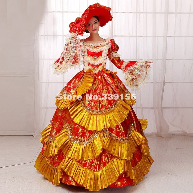 Reine Victorienne Or Et Rouge Imprimé Marie Antoinette Robe Halloween Noël  Vampire Reine Cosplay Partie 2a6b7892d3d