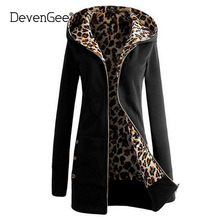 DevenGee 2017 Fashion Winter Women Hoodie Sweatshirt Coat Long Sleeve Leopard Print Zipper Outerwear Hooded Jacket Coat Overcoat