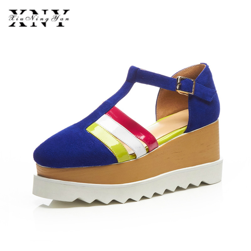 XIUNINGYAN Women Sandals Suede Shoes Fashion Girl Shoes Wedges Sandals Mixed Colors Lady Shoes Big Size Platform Summer Sandals xiaying smile summer woman sandals platform wedges heel women pumps buckle strap fashion mixed colors flock lady women shoes