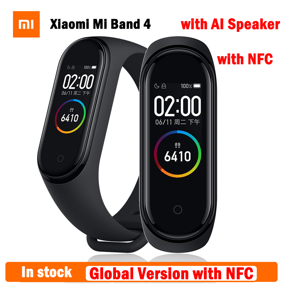 In Stock Original Xiaomi Mi Band 4 Global Version With NFC Newest Smart Wristband Xiaomi Band 4 Heart Rate Fitness Color Screen