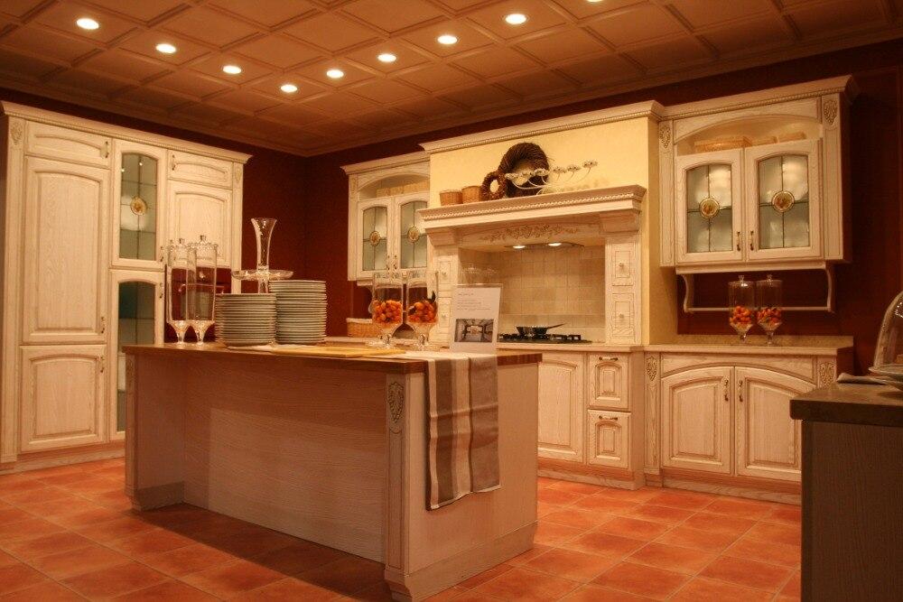 luxe classique en bois massif meubles de cuisine - Cuisine Classique En Bois Massif