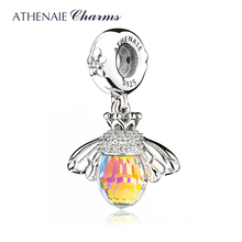 ATHENAIE Classic New 925 Sterling Silver with Crystals Bee Pendants Necklace fit Bracelet Bangle for Women Jewelry Accessories